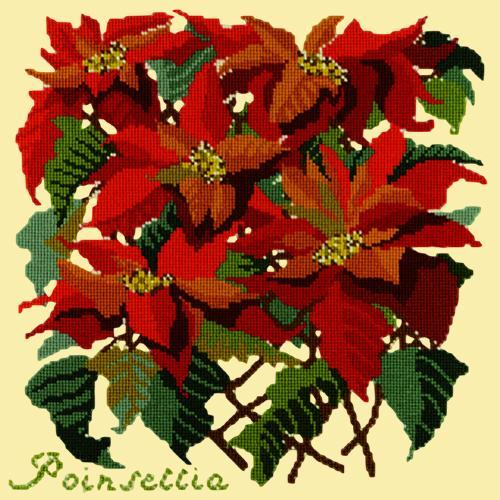 Poinsettia Needlepoint Kit Elizabeth Bradley Design Butter Yellow