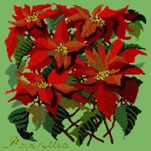 Poinsettia Needlepoint Kit Elizabeth Bradley Design Grass Green