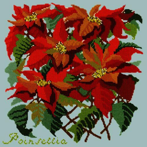Poinsettia Needlepoint Kit Elizabeth Bradley Design Pale Blue