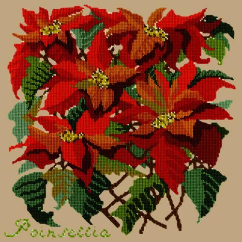 Poinsettia Needlepoint Kit Elizabeth Bradley Design Sand