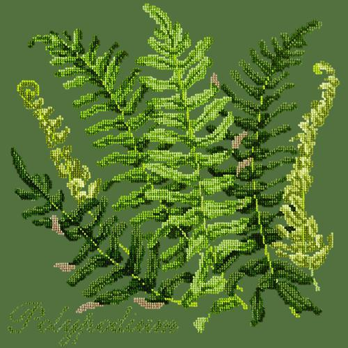 Polypodium Needlepoint Kit Elizabeth Bradley Design Dark Green