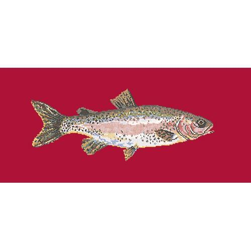 Rainbow Trout Needlepoint Kit Elizabeth Bradley Design Bright Red