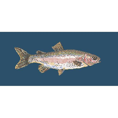 Rainbow Trout Needlepoint Kit Elizabeth Bradley Design Dark Blue