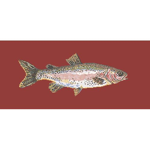 Rainbow Trout Needlepoint Kit Elizabeth Bradley Design Dark Red