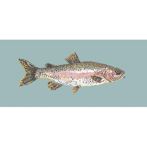 Rainbow Trout Needlepoint Kit Elizabeth Bradley Design Pale Blue