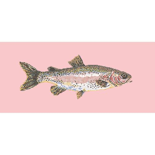 Rainbow Trout Needlepoint Kit Elizabeth Bradley Design Pale Rose