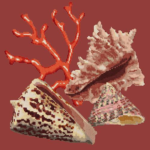 Red Coral Needlepoint Kit Elizabeth Bradley Design Dark Red