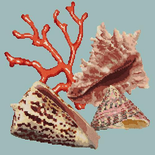 Red Coral Needlepoint Kit Elizabeth Bradley Design Pale Blue