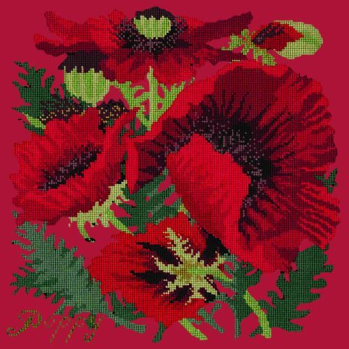 Red Poppy Needlepoint Kit Elizabeth Bradley Design Bright Red