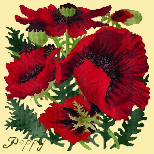 Red Poppy Needlepoint Kit Elizabeth Bradley Design Butter Yellow