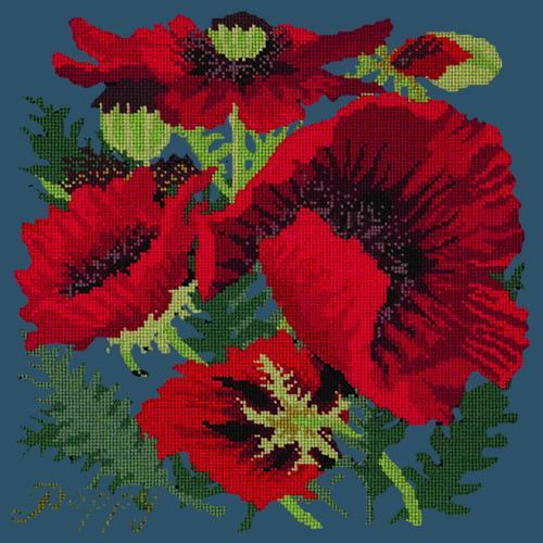 Red Poppy Needlepoint Kit Elizabeth Bradley Design Dark Blue