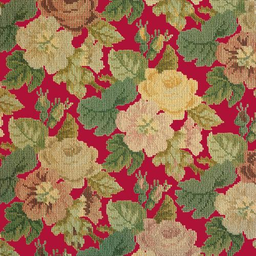 Repeating Roses Needlepoint Kit Elizabeth Bradley Design Bright Red
