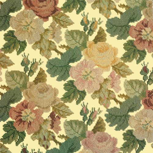 Repeating Roses Needlepoint Kit Elizabeth Bradley Design Butter Yellow