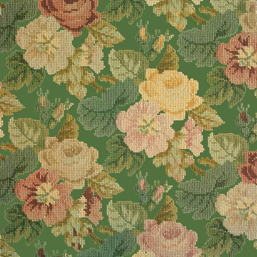 Repeating Roses Needlepoint Kit Elizabeth Bradley Design Dark Green