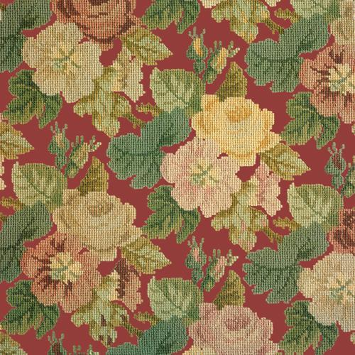Repeating Roses Needlepoint Kit Elizabeth Bradley Design Dark Red
