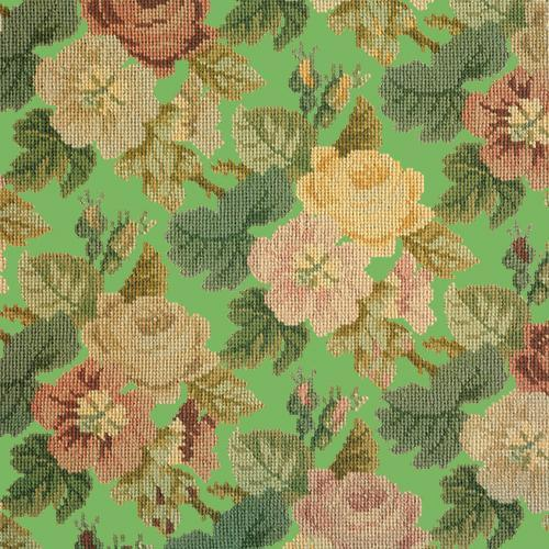 Repeating Roses Needlepoint Kit Elizabeth Bradley Design Grass Green