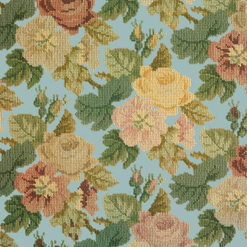Repeating Roses Needlepoint Kit Elizabeth Bradley Design Pale Blue