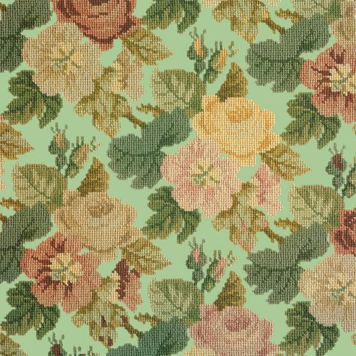 Repeating Roses Needlepoint Kit Elizabeth Bradley Design Pale Green