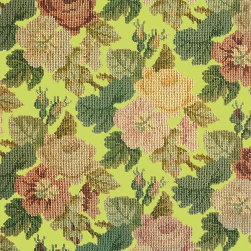 Repeating Roses Needlepoint Kit Elizabeth Bradley Design Pale Lime