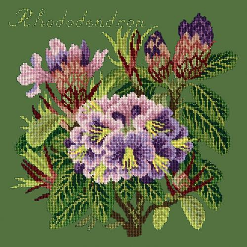 Rhododendron Needlepoint Kit Elizabeth Bradley Design Dark Green