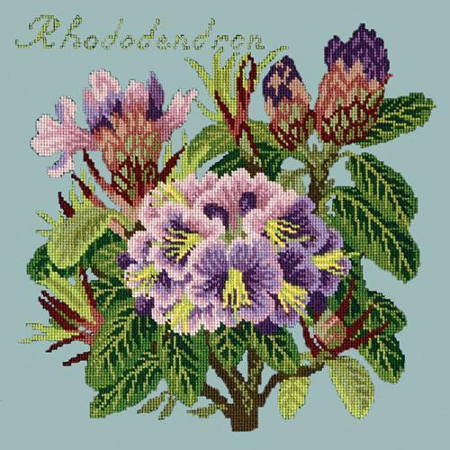 Rhododendron Needlepoint Kit Elizabeth Bradley Design Pale Blue
