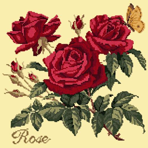 Rose Needlepoint Kit Elizabeth Bradley Design Butter Yellow