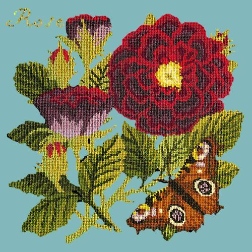 Rose Needlepoint Kit Elizabeth Bradley Design Duck Egg Blue