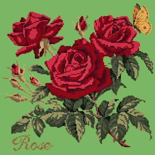 Rose Needlepoint Kit Elizabeth Bradley Design Grass Green