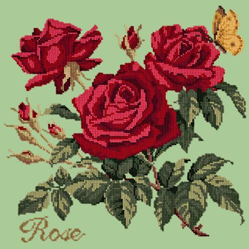 Rose Needlepoint Kit Elizabeth Bradley Design Pale Green