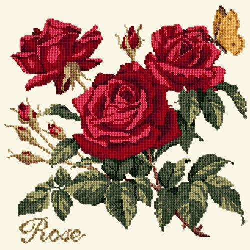 Rose Needlepoint Kit Elizabeth Bradley Design Winter White