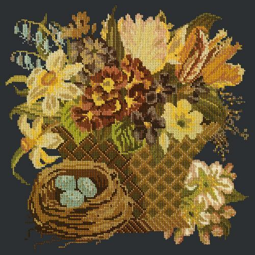 Spring Basket Needlepoint Kit Elizabeth Bradley Design Black