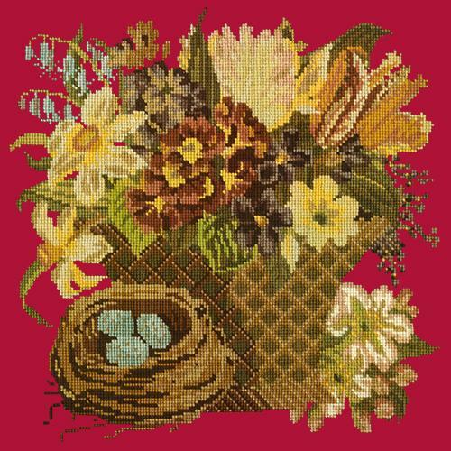 Spring Basket Needlepoint Kit Elizabeth Bradley Design Bright Red