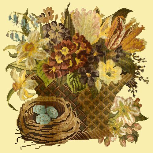 Spring Basket Needlepoint Kit Elizabeth Bradley Design Butter Yellow