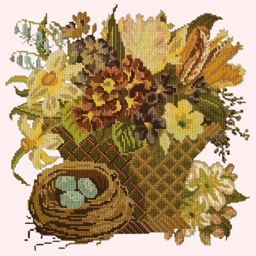 Spring Basket Needlepoint Kit Elizabeth Bradley Design Cream