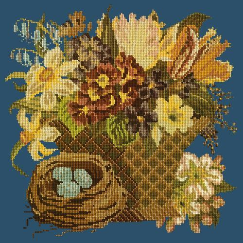 Spring Basket Needlepoint Kit Elizabeth Bradley Design Dark Blue