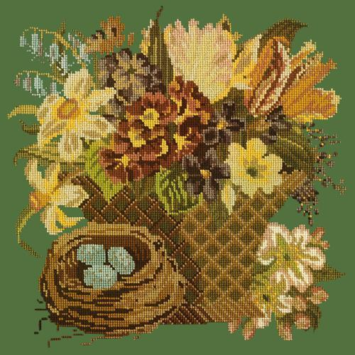 Spring Basket Needlepoint Kit Elizabeth Bradley Design Dark Green