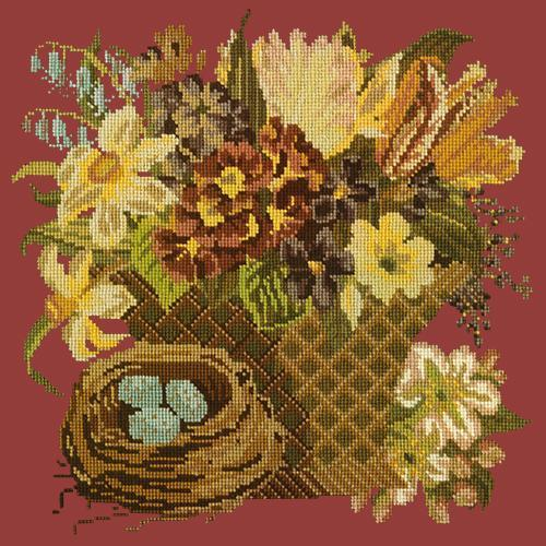 Spring Basket Needlepoint Kit Elizabeth Bradley Design Dark Red
