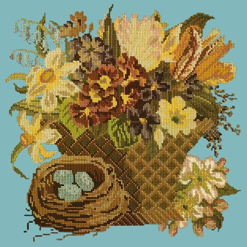Spring Basket Needlepoint Kit Elizabeth Bradley Design Duck Egg Blue