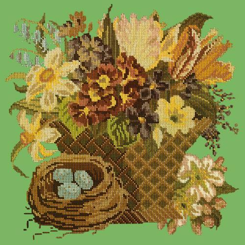 Spring Basket Needlepoint Kit Elizabeth Bradley Design Grass Green