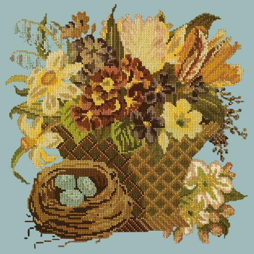Spring Basket Needlepoint Kit Elizabeth Bradley Design Pale Blue