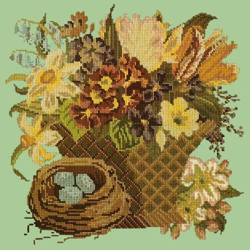 Spring Basket Needlepoint Kit Elizabeth Bradley Design Pale Green