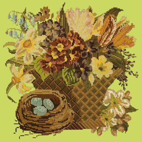 Spring Basket Needlepoint Kit Elizabeth Bradley Design Pale Lime
