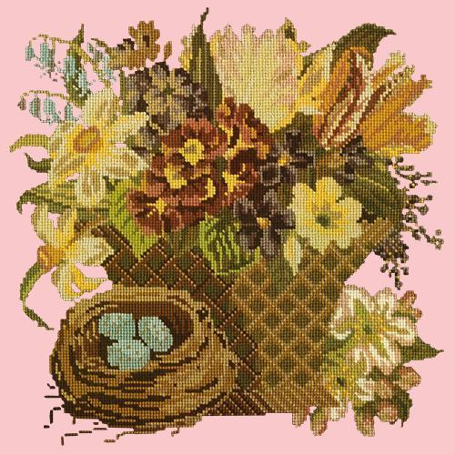 Spring Basket Needlepoint Kit Elizabeth Bradley Design Pale Rose