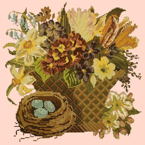 Spring Basket Needlepoint Kit Elizabeth Bradley Design Salmon Pink