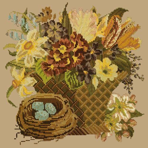 Spring Basket Needlepoint Kit Elizabeth Bradley Design Sand