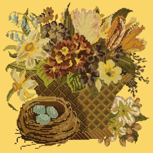 Spring Basket Needlepoint Kit Elizabeth Bradley Design Sunflower Yellow