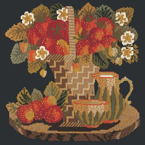Strawberries Needlepoint Kit Elizabeth Bradley Design Black