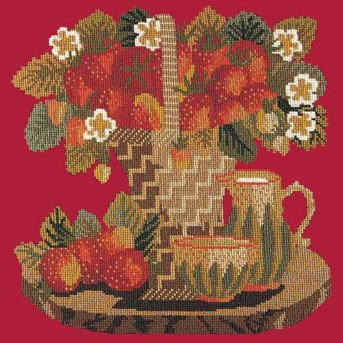 Strawberries Needlepoint Kit Elizabeth Bradley Design Bright Red