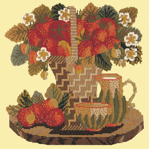 Strawberries Needlepoint Kit Elizabeth Bradley Design Butter Yellow