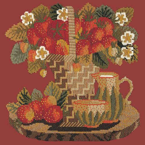 Strawberries Needlepoint Kit Elizabeth Bradley Design Dark Red